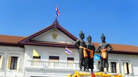 Historisch monument van 3 koningen, Chiang Mai Thailand Stock Foto