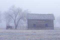 Historisch museum bij Fort Missoula, MT in mist Stock Foto