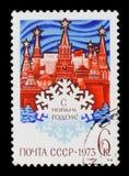 Historisch museum in Moskou, Nieuwjaargroeten, circa 1973 Royalty-vrije Stock Afbeeldingen