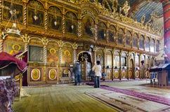 Historisch, orthodox kerkbinnenland in Bansko, Bulgarije Stock Foto