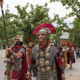 Historisch Roman Group in Expo 2015 in Milaan, Italië Royalty-vrije Stock Foto's
