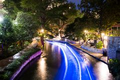 Historisch San Antonio River Walk bij Nacht Royalty-vrije Stock Foto