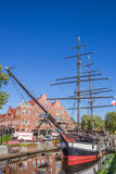 Historisch schip in een kanaal in Papenburg Royalty-vrije Stock Afbeelding