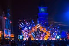 Historisch Stadhuis op het Belangrijkste Marktvierkant in Krakau tijdens de viering van de inwoners van het Nieuwjaar Royalty-vrije Stock Foto