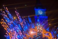 Historisch Stadhuis op het Belangrijkste Marktvierkant in Krakau tijdens de viering van de inwoners van het Nieuwjaar Royalty-vrije Stock Foto's
