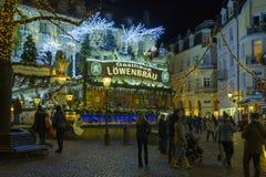 Historisch stadscentrum van baden-Baden met Kerstmisdecoratie Stock Foto
