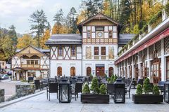 Historisch stadscentrum van Szczawnica, XIX eeuw houten architec royalty-vrije stock fotografie