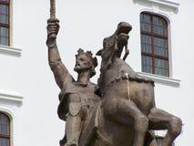 Historisch standbeeld bij het kasteel in Bratislava Royalty-vrije Stock Foto's