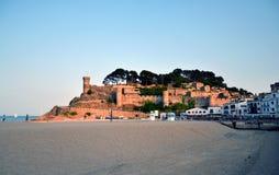 Kasteel in Tossa de Mar in Costa Brava, Catalonië, Spanje Stock Foto's