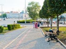 Historisch vierkant in het centrum van Ekaterinburg, Rusland Stock Foto
