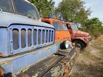 Historische aantastende vrachtwagens Praga V3S Royalty-vrije Stock Foto's