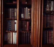 Historische alte Bücher in der Bibliothek Stockbild