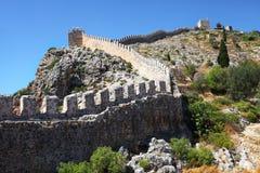 Historische alte Wand der Stadt Alanya, die Türkei stockfotografie