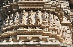 Historische architectuur, steen het snijden bij jagdishtempel, udaipur Rajasthan, India Stock Foto