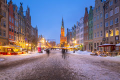 Historische architectuur van de oude stad in Gdansk, Polen Royalty-vrije Stock Afbeeldingen