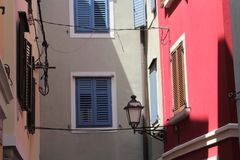 Historische architectuur van Piran, Slovenië royalty-vrije stock foto's