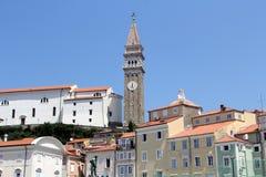Historische Architektur von Piran, Slowenien lizenzfreies stockfoto