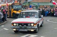 Historische auto van brandbrigade bij Nationale Onafhankelijkheid Op 11 November is 2018 de 100ste verjaardag van het herwinnen i royalty-vrije stock foto's