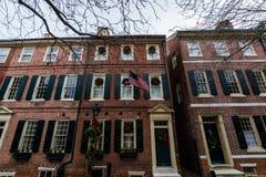Historische Backsteinbauten im Gesellschafts-Hügel in Philadelphia, Pennsy Stockfotos