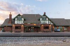 Historische Bahnstation im Fahnenmast Arizona Lizenzfreies Stockbild