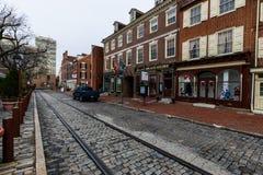 Historische Baksteengebouwen in de Maatschappijheuvel in Philadelphia, Pennsy Stock Fotografie