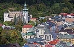 Historische Bergbaustadt Banska Stiavnica Stockfotografie