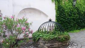Historische binnenplaats Historisch huis met mooie bloemen en historische waterput Klimop op de muur stock footage