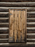 Historische Blockhaus-Tür Stockbild