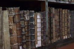 Historische boeken van de 16de eeuw in Joanina Library Royalty-vrije Stock Foto's