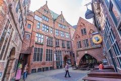 Historische Boettcher-Straat in Bremen, Duitsland Stock Foto's