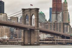 Historische Brooklyn-Brücke Stockfotos
