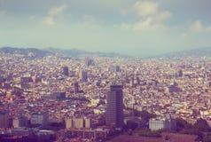 Historische buurten van Barcelona, mening hierboven royalty-vrije stock afbeeldingen