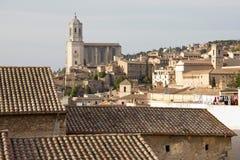 Historische centrum en Kathedraal van Gerona Stock Fotografie