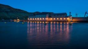 Historische Dam in Idaho bij nacht Royalty-vrije Stock Foto's