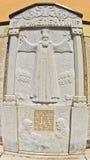 Historische details op RaÄ  een kloostermuur over opstand tegen Ottomaneimperium stock afbeelding