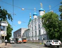 Historische Dobrolyubova-straat Nizhny Novgorod stock afbeelding