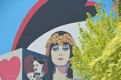 Historische Elsinore-Theatermuurschildering in Salem, Oregon Royalty-vrije Stock Fotografie