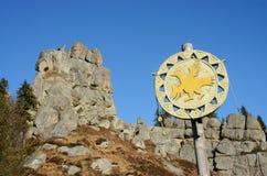 Historische en culturele reserve Tustan, Karpatische bergen, de Westelijke Oekraïne Royalty-vrije Stock Afbeeldingen