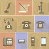 Historische Evolutie van de Telefoon Stock Foto's