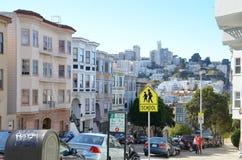 Historische flats en gebouwen in San Francisco Royalty-vrije Stock Foto's