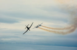 Historische Flugzeuge im mitten in der Luft Stockbild