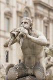 Historische Fontein in Piazza Navona Stock Foto