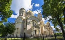 Historische Gebäude in altem Riga stockbild