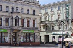Historische Gebäude in der Stadt von Rybnik, Polen lizenzfreies stockfoto
