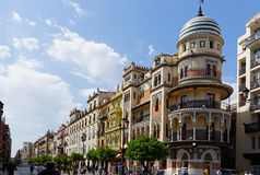 Historische Gebäude und Monumente von Sevilla, Spanien Spanische Baustile von gotischem und von Mudejar, barock stockbilder