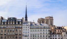 Historische Geb?ude und Notre Dame Cathedral vor dem Feuer stockfotos