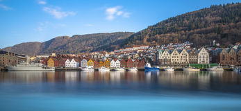 Historische Gebäude von Bryggen in der Stadt von Bergen, Norwegen Stockbilder