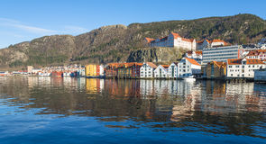 Historische Gebäude von Bryggen in der Stadt von Bergen, Norwegen Lizenzfreies Stockbild