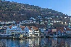 Historische gebouwen in de Stad van Bergen, Noorwegen Stock Foto