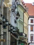 Historische gebouwen in het centrum van Bratislava Stock Foto
